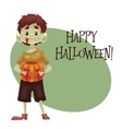 Happy boy dressed as monster for Halloween with a vector image