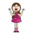 young girl with hands up avatar character vector image