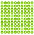 100 t-shirt icons set green circle vector image