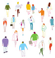 Many people walking talkink and standing vector image