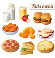 Kids menu Set of cartoon food icons vector image