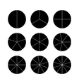 Circle segments set Black flat color vector image