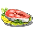 delicious steak of red fish with salad and lemon vector image