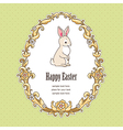 Frame bunny easter green vector image