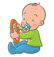 funny small baby sitting with dummy and ring vector image