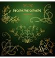 Golden decorative floral corners vector image