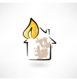 house fire grunge icon vector image