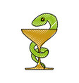 isolated caduceus snake emblem vector image