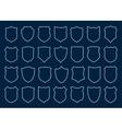 Large set of white shields on blue background vector image