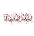 Paper thank you confetti sign vector image