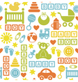 seamless pattern with icons for baby boy vector image
