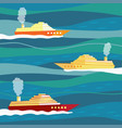 ships on waves vector image