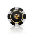 vip poker black and white chip with golden ring vector image