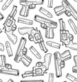 doodle guns pattern seamless vector image