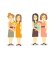 Set of happy gay LGBT women families with children vector image