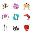 chinese travel icons set cartoon style vector image