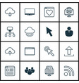 Set of 16 internet icons includes team program vector image