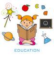 girl reading a book vector image