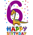 sixth birthday cartoon design vector image