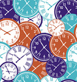 Clocks seamless pattern Color texture of time vector image