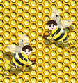 bees on honeycomb vector image vector image