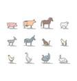 animals farm color thin line icon set vector image