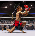 cartoon man fighter muay thai in the ring vector image