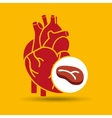 Concept healthy heart meat eating icon vector image