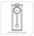 Grandfather clock vintage Flat linear object vector image