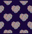 seamless pattern with hearts made of colorful rose vector image