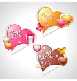 Valentines Day stickers Origami speech bubble vector image