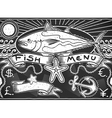 Vintage Graphic Blackboard for Fish Menu vector image