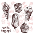 Ice Cream And Cakes Sketch Set vector image