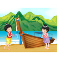 Two Thai girls greeting on the beach vector image vector image