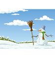 landscape with a snowman vector image