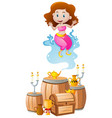 cute genie coming out of lamp vector image
