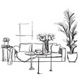 hand drawn room interior sketch furniture vector image