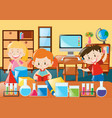 kids learning in science classroom vector image