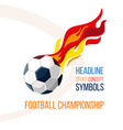 Soccer ball with the image of fire in the vector image