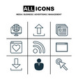 set of 9 internet icons includes login wifi vector image