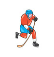 Ice Hockey Player With Stick Cartoon vector image vector image