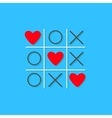 Tic tac toe game with cross and three red heart vector image