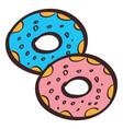 donuts colored in hand drawing style vector image