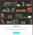 library shelves with standing and lying books vector image