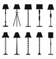 set of floor lamp silhouettes vector image