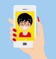 young girl doing a selfie with smartphone vector image