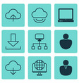 set of 9 world wide web icons includes local vector image