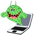 Cartoon Virus on laptop vector image vector image