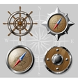 Set of Wooden Nautical elements isolated on white vector image