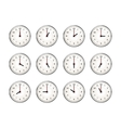 Set of clocks icons for every hour of day on white vector image